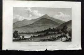 Westall 1830 Antique Print. Abergavenny from the Uske Road, Wales